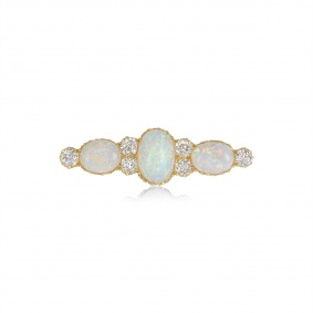18k Yellow Gold Antique Opal and Diamond Brooch